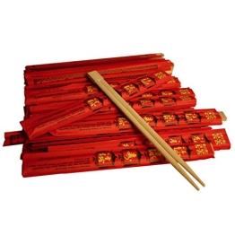 100 Paar Einweg Essstäbchen in roter Papierhülle verpackt - 1