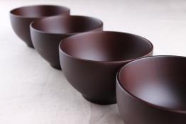 4er-Set: Japanische Suppenschalen bzw. Reisschalen aus Kastanienholz, 12 cm (Schwarzbraun) - 1