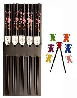 5 Paar Essstäbchen aus Bambus mit Dekor 'Kirschblüte', blau, Japan Style + 1 Essstäbchen-Helfer. - 1