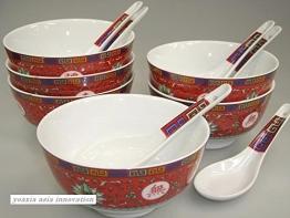 """6 Set [12 Teile] chinese Porzellan Reisschale & Löffel """"Arabesque rot"""" - 1"""