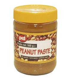 6er Pack - Erdnuss-Paste [6x 500g] Marke pcd Peanut Paste OHNE ZUCKER + ein kleines Glückspüppchen - Holzpüppchen - 1