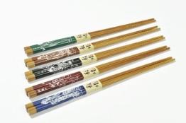 """Abacus Asiatica: """"Farben der Erde"""" Eßstäbchen im Set (5 Paar Stäbchen). Maße der Stäbchen: 22,5cm x 0,2cm - CS-GH-S5-05 DE - 1"""