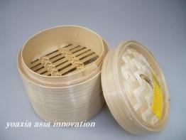 Bambusdämpfer 3-Teilig 16cm Dämpfer Bamboo Steamer Set - 1