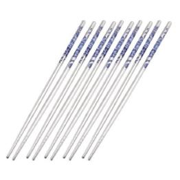 Chinesische Edelstahl Essstäbchen Kegelförmig Silberton 5-Paar - Silber 1 - 1