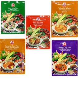 COCK 5 verschiedene Curry Paste je 50g [Rote, Gelbe, Grüne, Panang, Matsaman] - 1