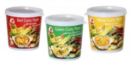 Cock Brand - Probierset Currypasten - 3er Pack (3 x 400g) - 3 Sorten, je 1 Dose Rote, Grüne, Gelbe Currypaste - 1