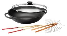 Karcher Mai Lin Wok (Durchmesser 36 cm, Aluguss, Durit-Select-Antihaftbeschichtung, inkl. Glasdeckel und Zubehör) schwarz - 1