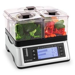 Klarstein Food Spa elektrischer Dampfgarer Gemüse Garer (1500W, 3 Garkammern, 7 Programme, Timer, Warmhaltefunktion) silber-schwarz - 1