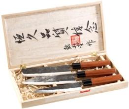 PEARL 3-teiliges Messerset, handgeschmiedet mit Echtholzgriff - 1