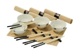Premier Housewares 16-teiliges chinesisches Essservice mit 4 weißen Schalen, 4 Paar Essstäbchen, 4 Besteckbänkchen und 4 matten - 1