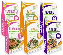 Shirataki Konjak Asia Probierpaket: 2 x Glasnudeln-Style 250g, 2 x Rice-Style 250g, 2 x Noodle-Style 250g - 1