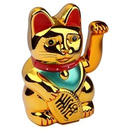 S/O Winkekatze Gold Winke Katze Chinesische Glücks Katze Glückskatze (0233) - 1
