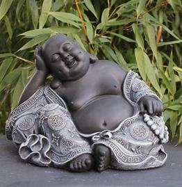 Steinfigur Buddha Steinguss Schiefergrau - 1