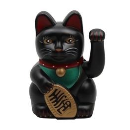 Superfreak® Winkekatze Glückskatze winkende Katze Maneki Neko, Farbe schwarz, Größe 13cm - 1
