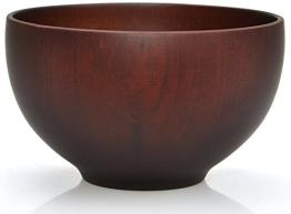 Traditionelle japanische Reisschale bzw. Suppenschale aus Kastanienholz - 12 cm - für Reis, Suppen, Desserts, Knabbereien (Schwarzbraun) - 1
