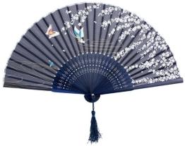 Umiwe(TM) Blau Schmetterling und Weiß Blume Muster Spitze Bambus Faltbar Handfächer mit Umiwe Accessorie - 1
