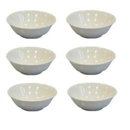 Viva-Haushaltswaren - 6 weiße,einfache Schalen / Schüsseln / Dessertschalen aus Porzellan Ø 14 cm Höhe 5 cm - 1