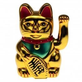 """Winkekatze MANEKI NEKO 6"""" / 16cm gold - 1"""