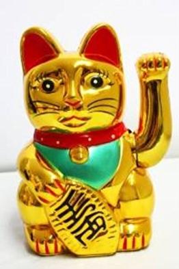 Winkekatze Maneki Neko Goldfarben Glückskatze winkt das Glück herbei 13cm - 1