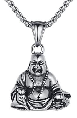 Arco Iris Schmuck Edelstahl Lachen Buddha Amulett Unisex Anhänger Halskette mit 2.5mm (Breite) Rundgliederkette - G2030qy1 -