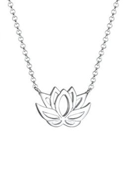 Elli  Damen-Kette mit Anhänger Lotusblume 925 Silber    45 cm - 0105891016_45 -