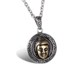 JewelryWe Schmuck Edelstahl Buddha Hauptportrait Amulett Unisex Anhänger mit 55cm Kette, Halskette für Damen und Herren, Schwarz Silber -