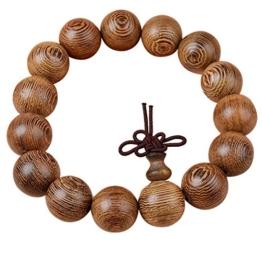 MJARTORIA Sandelholz Kugel Mala Perlen Strang Armband Buddhistisches Stammes-Surfer Wickelarmband mit Schleife Verschliess -