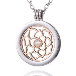 Morella Damen Halskette 70 cm Edelstahl und Anhänger mit Coin Blume Lotus rosegold in Schmuckbeutel -