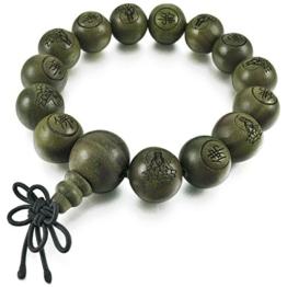 MunkiMix 14mm Holz Armband Link Handgelenk Tibetische Buddhist Buddhistischen Grün Sandelholz Kugel Perle Perlen Gebet Buddha Gebet Mala Chinesisch Knoten Dreiecksknoten Elastisch Herren,Damen -