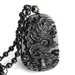 Obsidian Halskette, LuckyFine Chinesischer Stil Obsidian Drachen Anhänger Kette Schmuck Halsschmuck Schwarz -